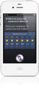 iPhone 4S with Siri giving a user the weather via voice command