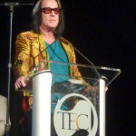 Todd Rundren accepts his Les Paul Award at the TEC Awards show during the 2014 NAMM Show.