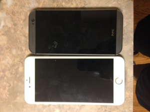 HTC M8 beside iPhone 6 Plus