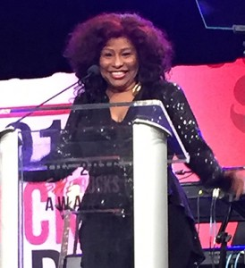 Chaka Khan accepts her Legend Award at the 2016 She Rocks Awards ceremony.