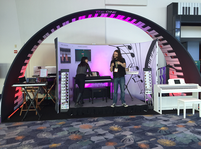The One Smart Pianos on display at the 2016 NAMM Show.